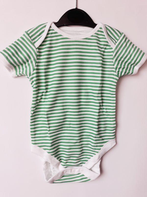 Боді зелена смужка хлопчику на 9-12 місяців