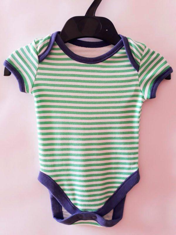 Боді зелена смужка для хлопчика на 0-3 місяці
