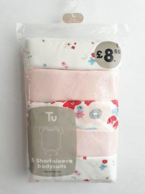 Боді білий та рожевий з квітами TU