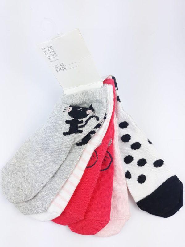 5 пар шкарпеток білі рожеві сірі червоні H&M