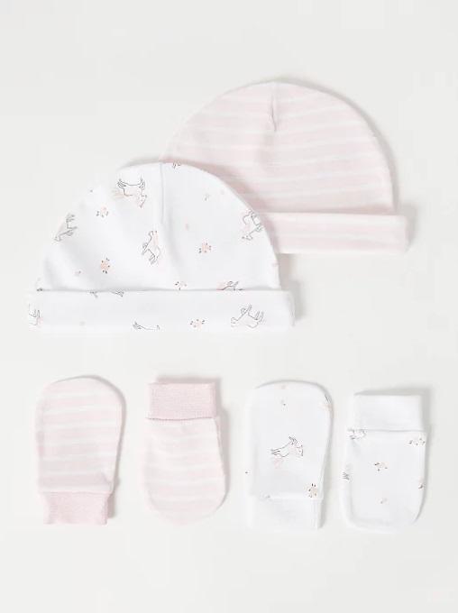 набір шапочок та царапок біло рожеві з квітами та кониками George