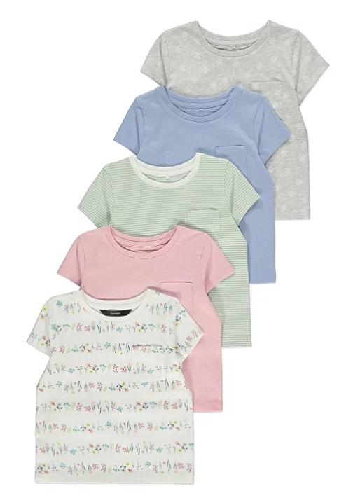 набір з п'яти футболок кольорові та квіти George