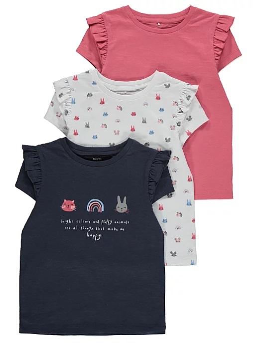 набір з трьох футболок синя та біла з малюнками та рожева George