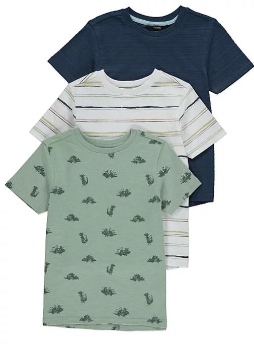 абір футболок з динозаврами кремова та синя George
